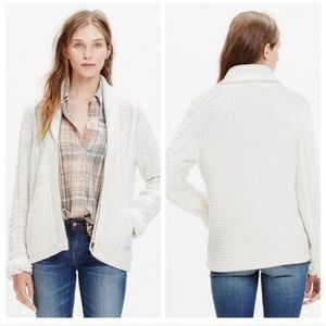 Madewell Fringe Sleeve Zip-Up Wool Sweater Cream